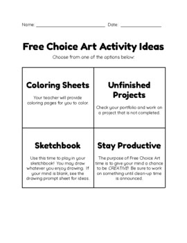 Free-Choice Art Activity Idea Pack