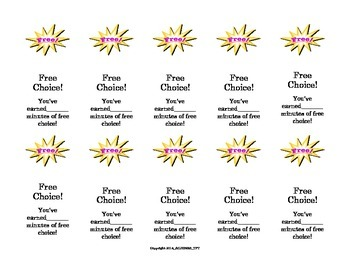 Free Choice Cards Behavior Incentive