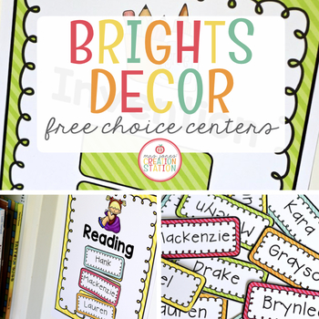 Free Choice Centers - Editable {Brights Classroom Set}