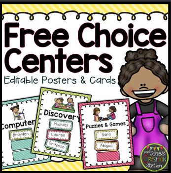 Free Choice Centers - Editable {Brights Classroom Set}