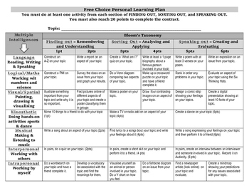 Free Choice Personal Learning Plan (Grid)