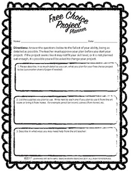 Free Choice Project Planner