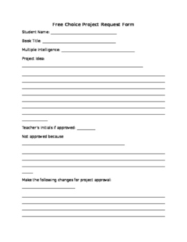 Free Choice Project Request Form