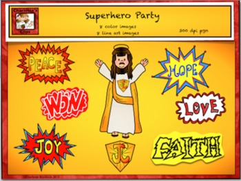 Free Catholic - Christian Superhero Clipart from Charlotte's Clips