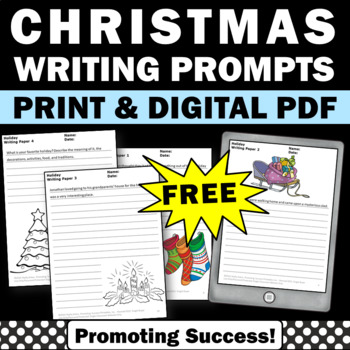 FREE Christmas Creative Writing Papers for Literacy Centers Activities