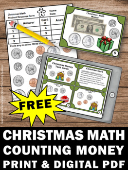 FREE Christmas Math Centers Counting Money Task Cards for Games & Activities