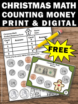 FREE Christmas Math Activities, Counting Money Task Cards, Math Center Games