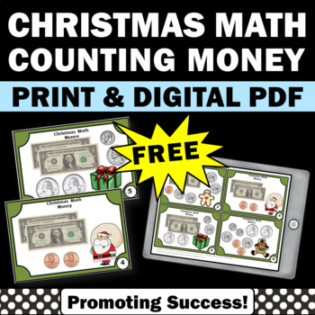 free counting money task cards christmas math center games