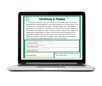 Free Christmas Around the World Reading Comprehension Passage