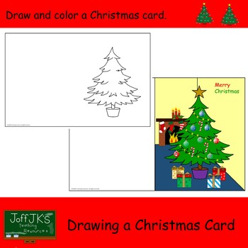 Free Christmas Card Drawing and Coloring Activity