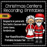 Christmas Centers Recording Sheet Printables Freebie