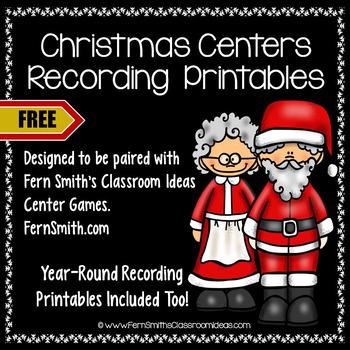 Free Christmas Centers Recording Sheet Printables