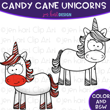 Free Christmas Clip Art - Candy Cane Unicorns {jen hart Clip Art}