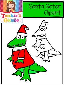 Free Christmas Clipart - Santa Gator