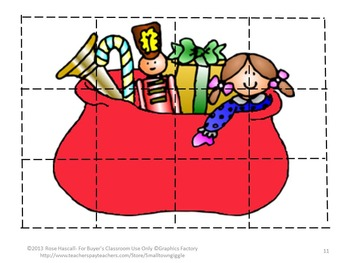 Free  Christmas Fine Motor Cut and Paste Puzzle Set Sampler for Centers