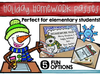 Free Christmas and Holiday Homework Pass