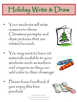 Free Christmas Holiday Write and Draw