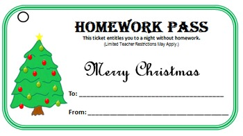 Free Christmas Homework Pass by Sparky's TidBits | TpT