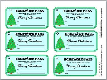 picture regarding Free Printable Homework Pass known as Totally free Xmas Research P