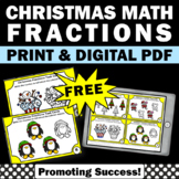FREE 3rd Grade Fraction Task Cards Christmas Math Activities