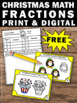FREE Christmas Math Fractions Task Cards for 2nd or 3rd Gr