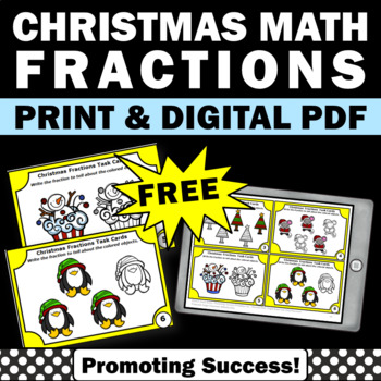 free Christmas math fractions task cards games activities