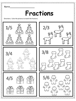 Free:  Christmas Math Fractions