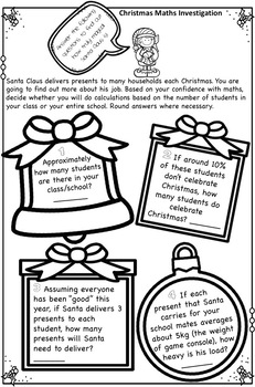 Free Christmas Maths Investigation AUS UK No Prep