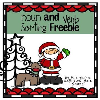 Free Christmas Noun and Verb Sorting