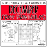 Free Christmas Math and Literacy Worksheets