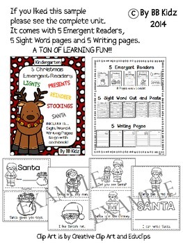 Free Christmas Sight Word Cut and Paste No Prep Activity for Kindergarten