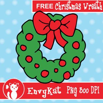 Free Christmas Wreath Digital Clipart Illustration