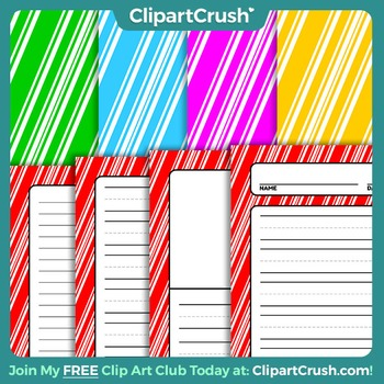 Royalty Free Christmas Writing Papers - Candy Cane Striped Printable Papers