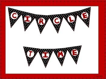 Free Circle Time Black and White Polka Dot Bunting