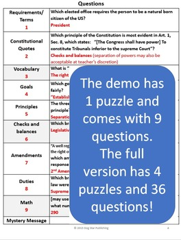 Free Civics Mystery Message Review Game Demo