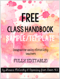 Free Class Handbook Sample/Template