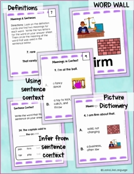 Homonyms Set 4 Learning Multiple Meanings with Picture Task Cards
