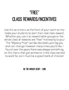 Free Class Rewards/Incentives Menu