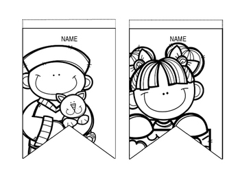 Free Classroom Banners with students- Editable- Black & White Version
