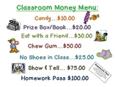 Free Classroom Dollars Menu & Homework Passes