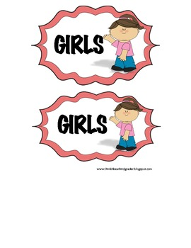 Free Classroom Management Girls/Boys Signs to Use As Bathroom Passes