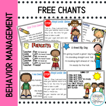 Behavior Management Free Management Poems and Chants For Pre-K-2