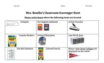 FREE Editable Classroom Materials Scavenger Hunt!