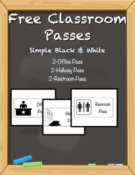 Free Classroom Passes - Simple Black And White