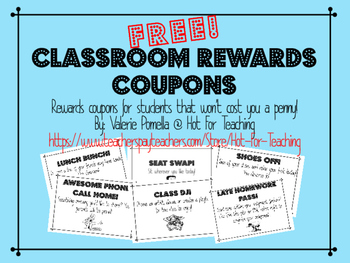 Free Classroom Rewards Posters and Coupons