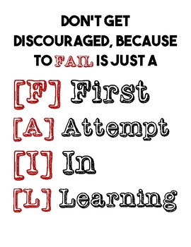 Free Classroom Sign - It's OK to FAIL