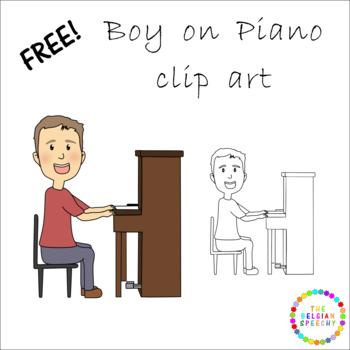 Free Clip Art - Boy on Piano