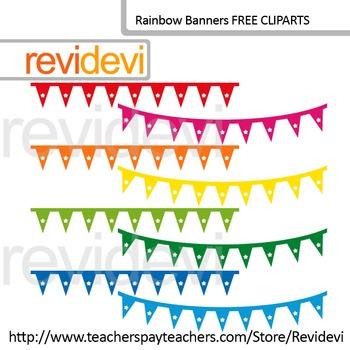 Free Clip Art Rainbow Banners (Set of 8), Teacher Seller T