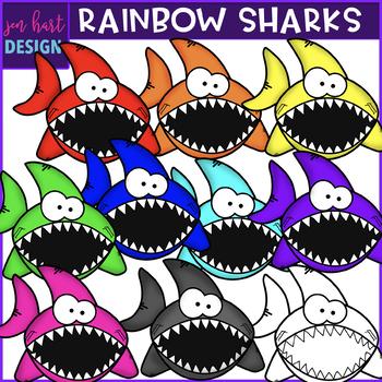 Free Clip Art - Rainbow Sharks{jen hart Clip Art}