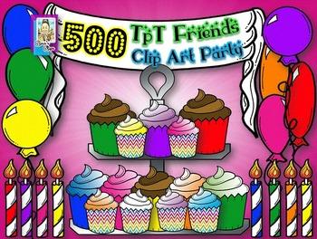 Free Clip Art~Cupcake Party!  Five Hundred Fantastic Follo